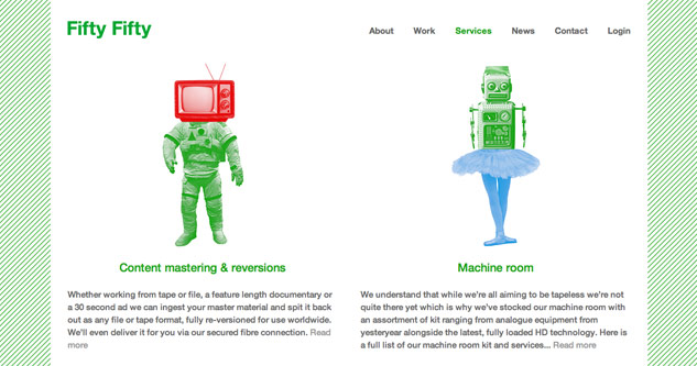 Fifty Fifty website layout