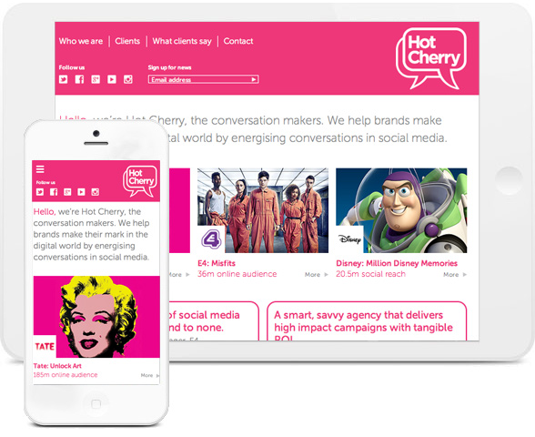 Web design preview for HotCherry