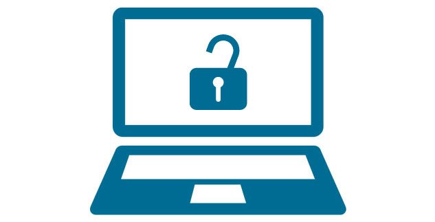 Blue laptop with picture of a padlock onscreen