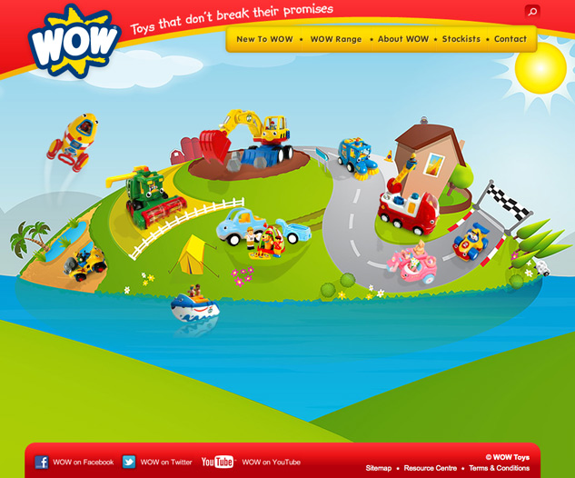 Screenshot of illustration used on wow toys website