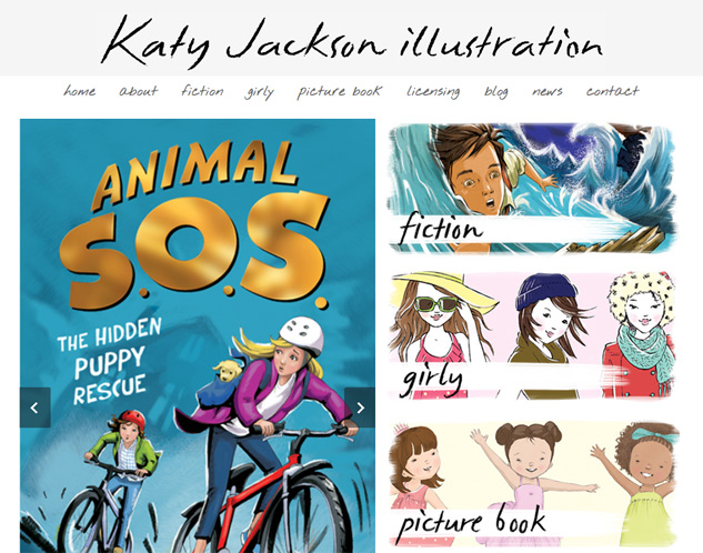 Screenshot of Katy Jackson illustration website