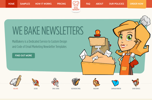 Screenshot of Mail Bakery website