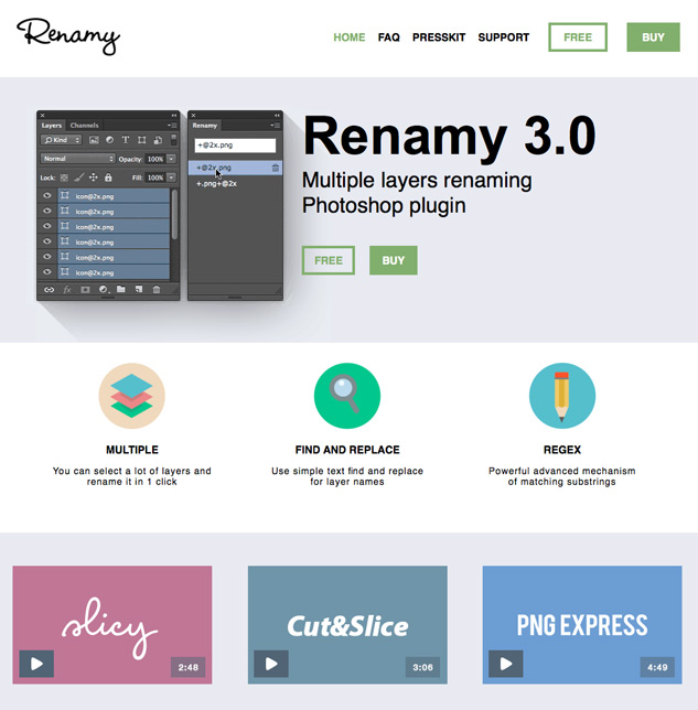 Screenshot of Renamy plugin website