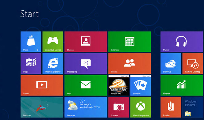 Screenshot of windows 8 flat design navigation dashboard