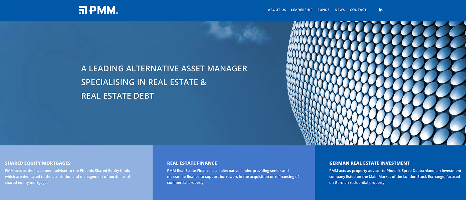 PMM Group Financial Services Website Design showing blue colours