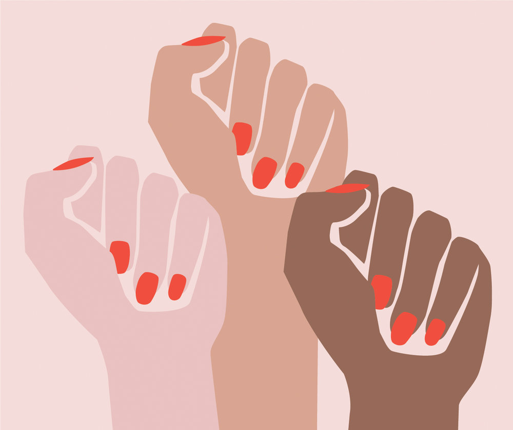Feminism in design. Female hands forming fists