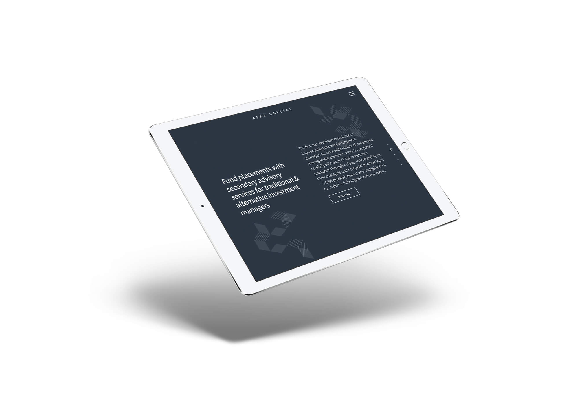 Afra Capital Web Design on iPad