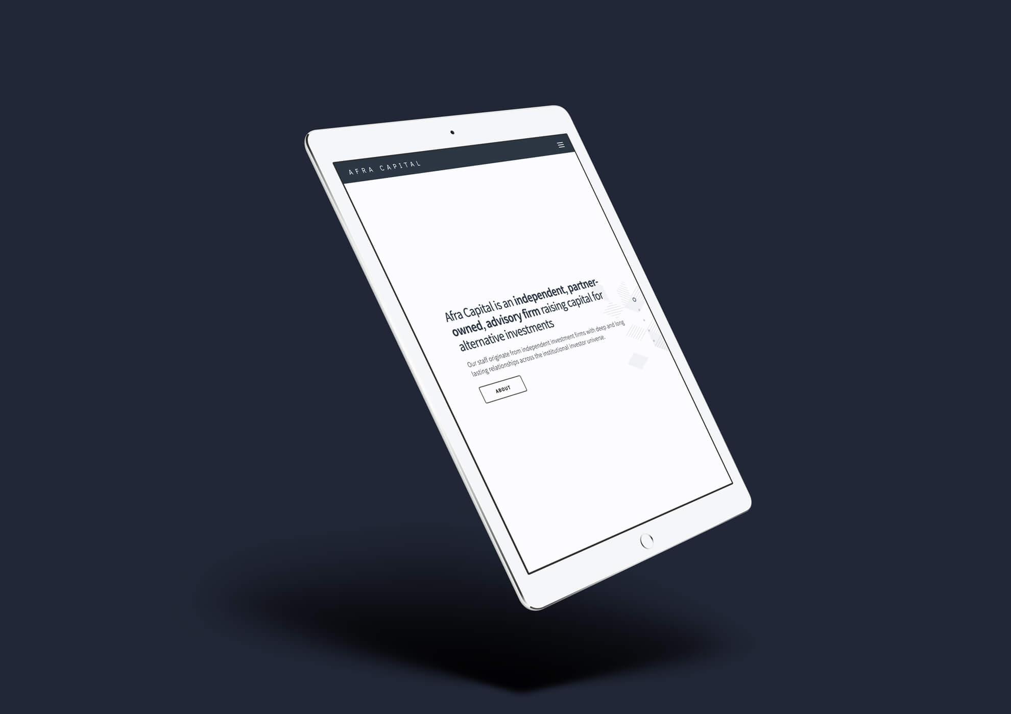 Afra Capital Web Design on iPad