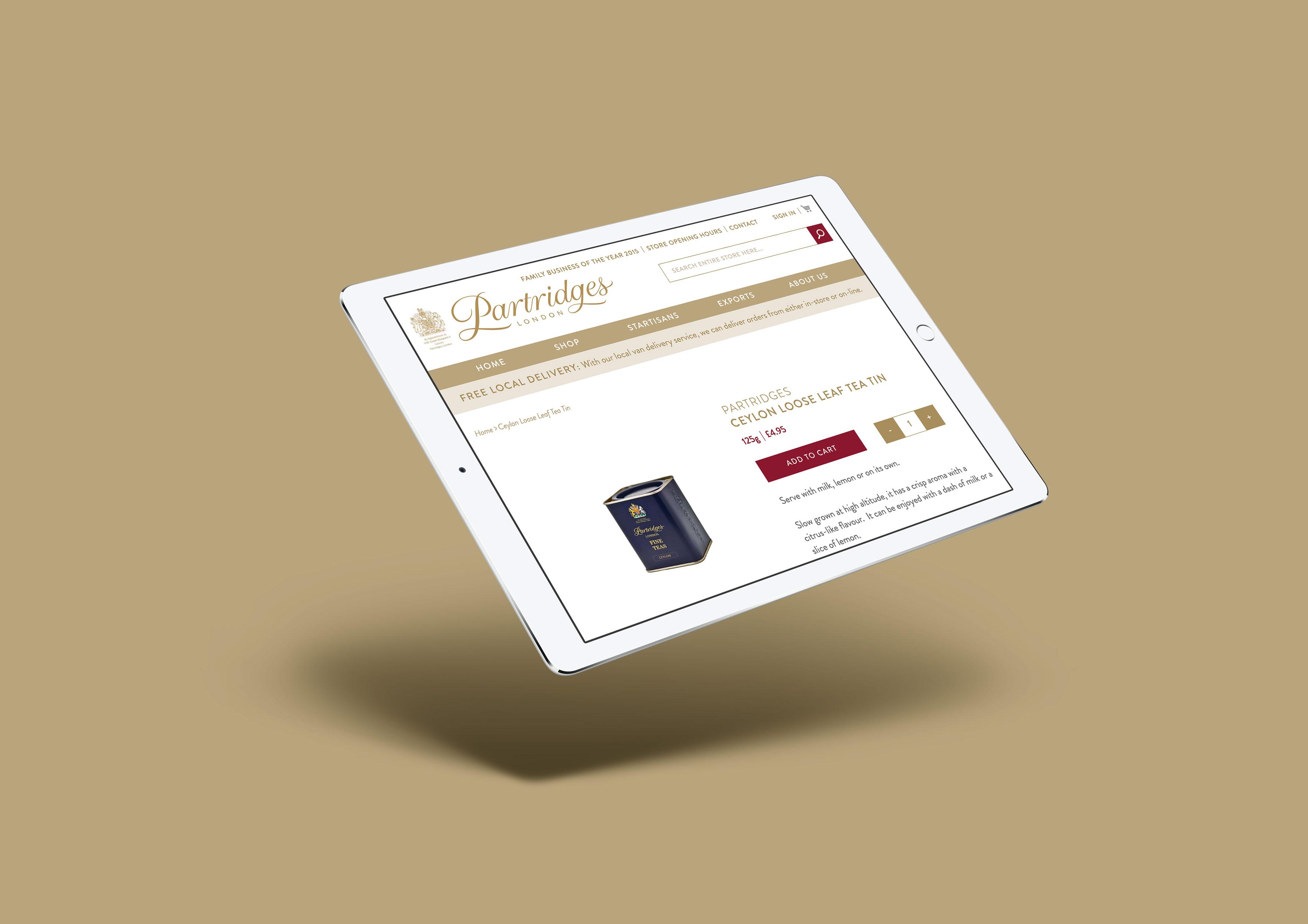 partridges mobile website for ecommerce