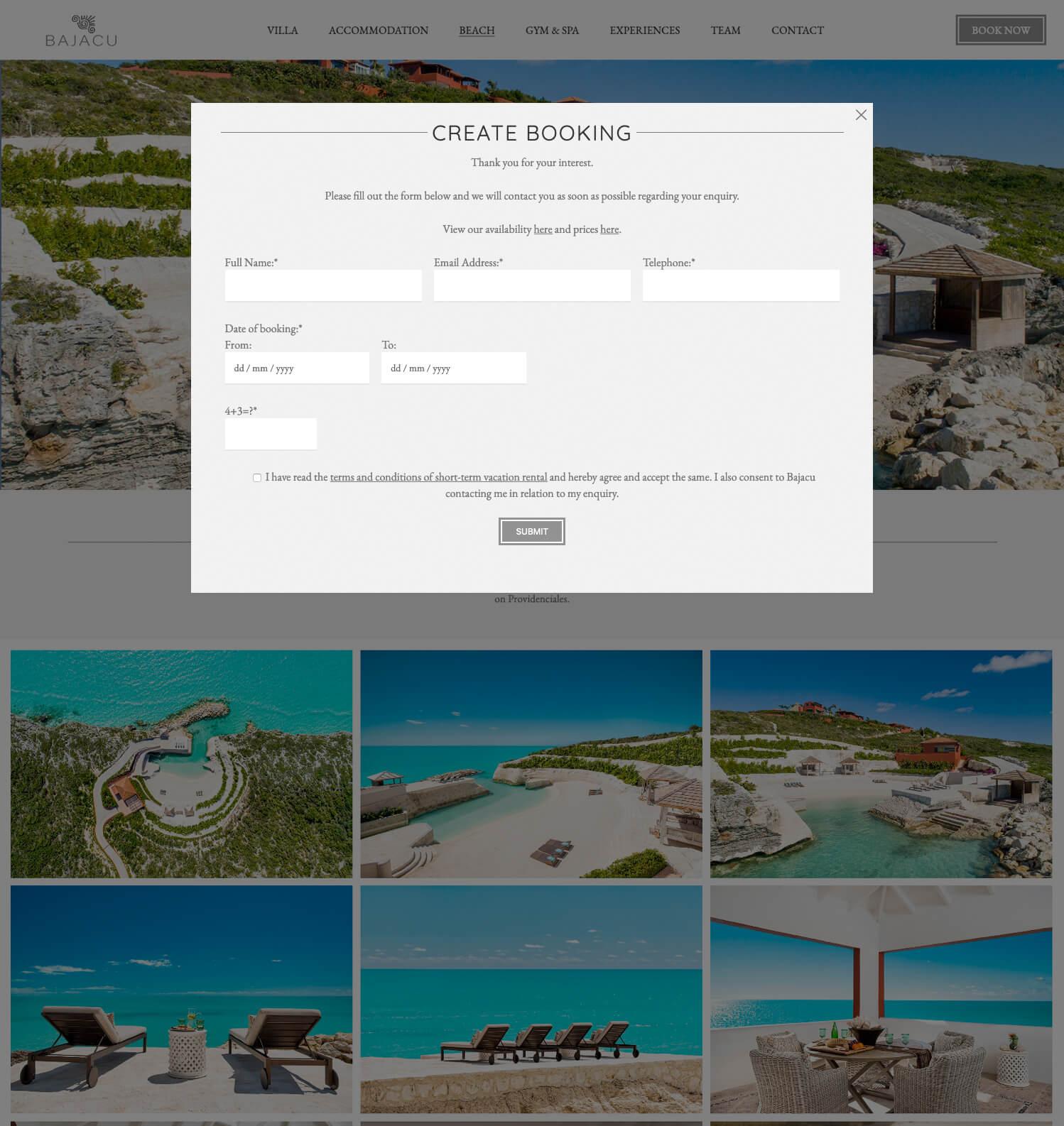 Bajacu booking form