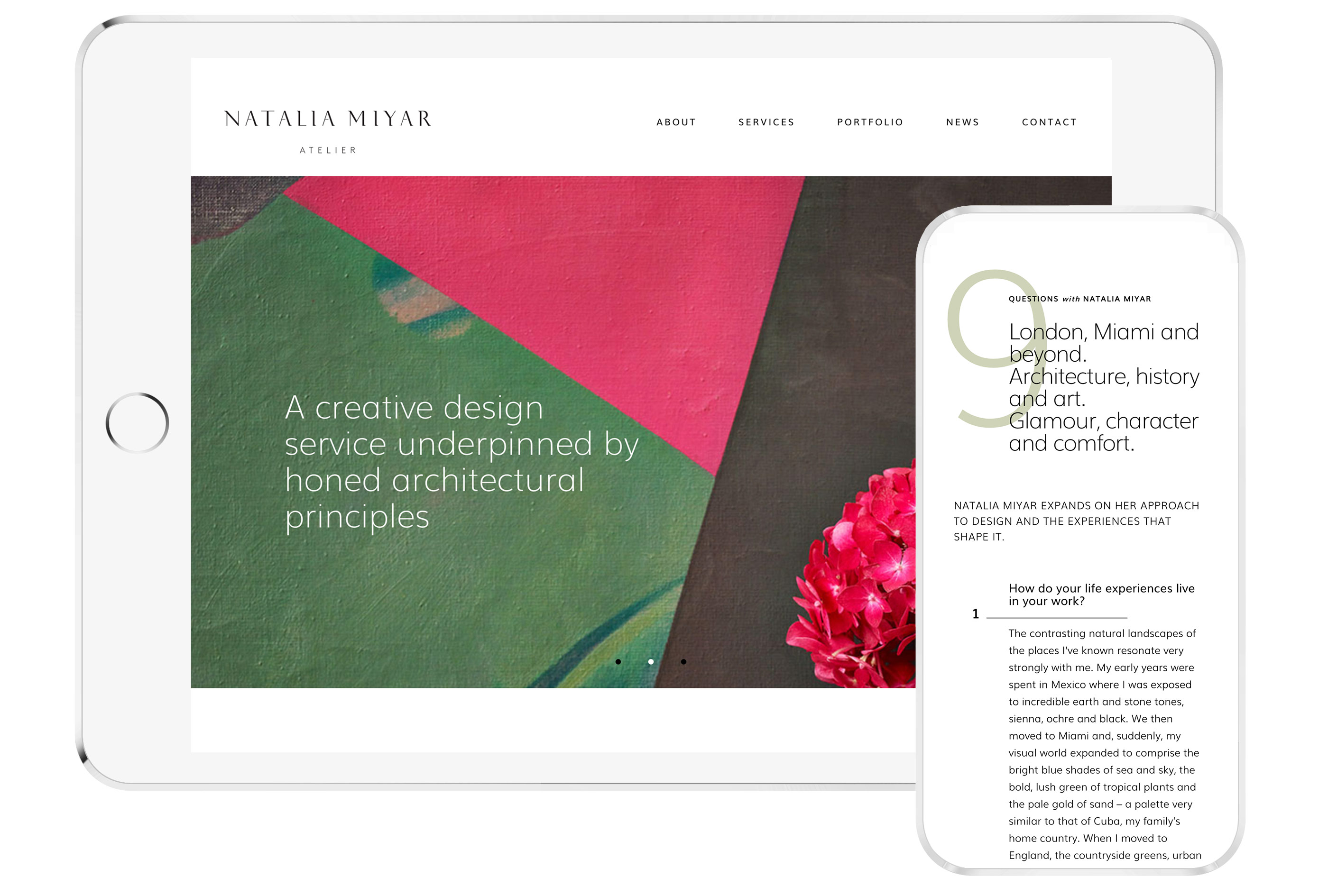 website for interior designer ipad iphone mobile responsive london