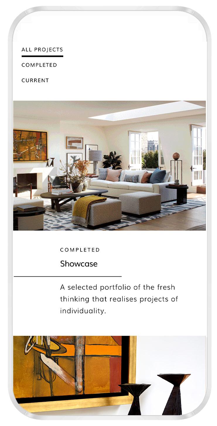 website for interior designer iphone mockup