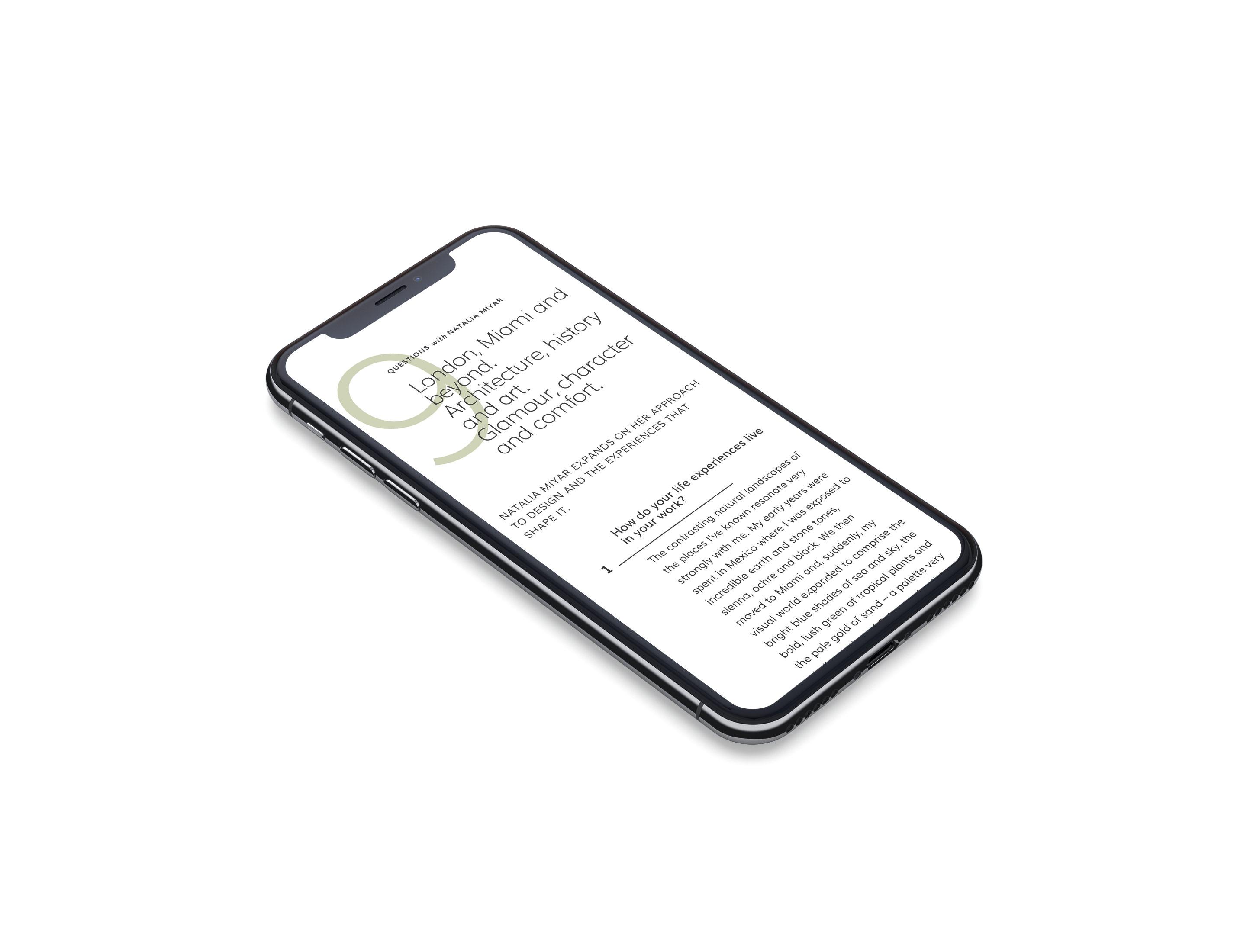 website for interior designer iphone 11 mockup mobile responsive