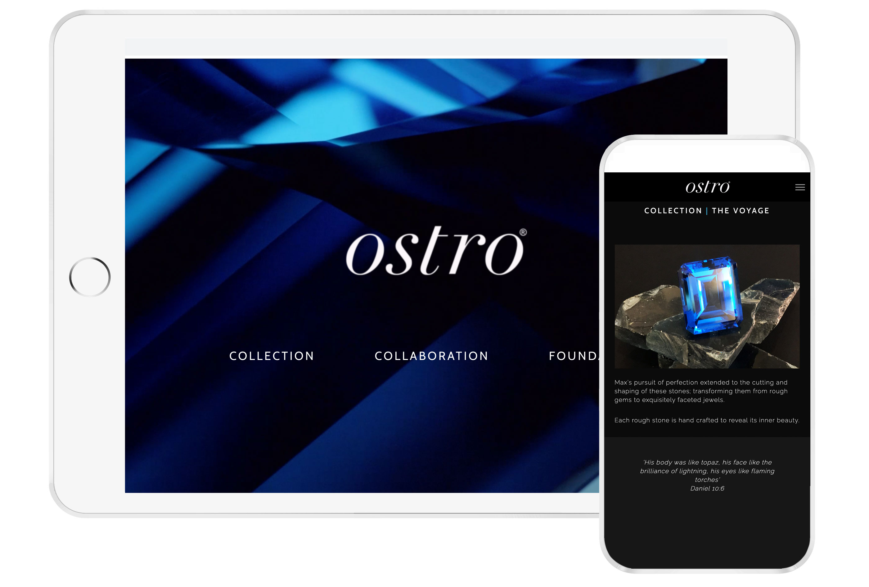 Web design preview for Ostro Topaz