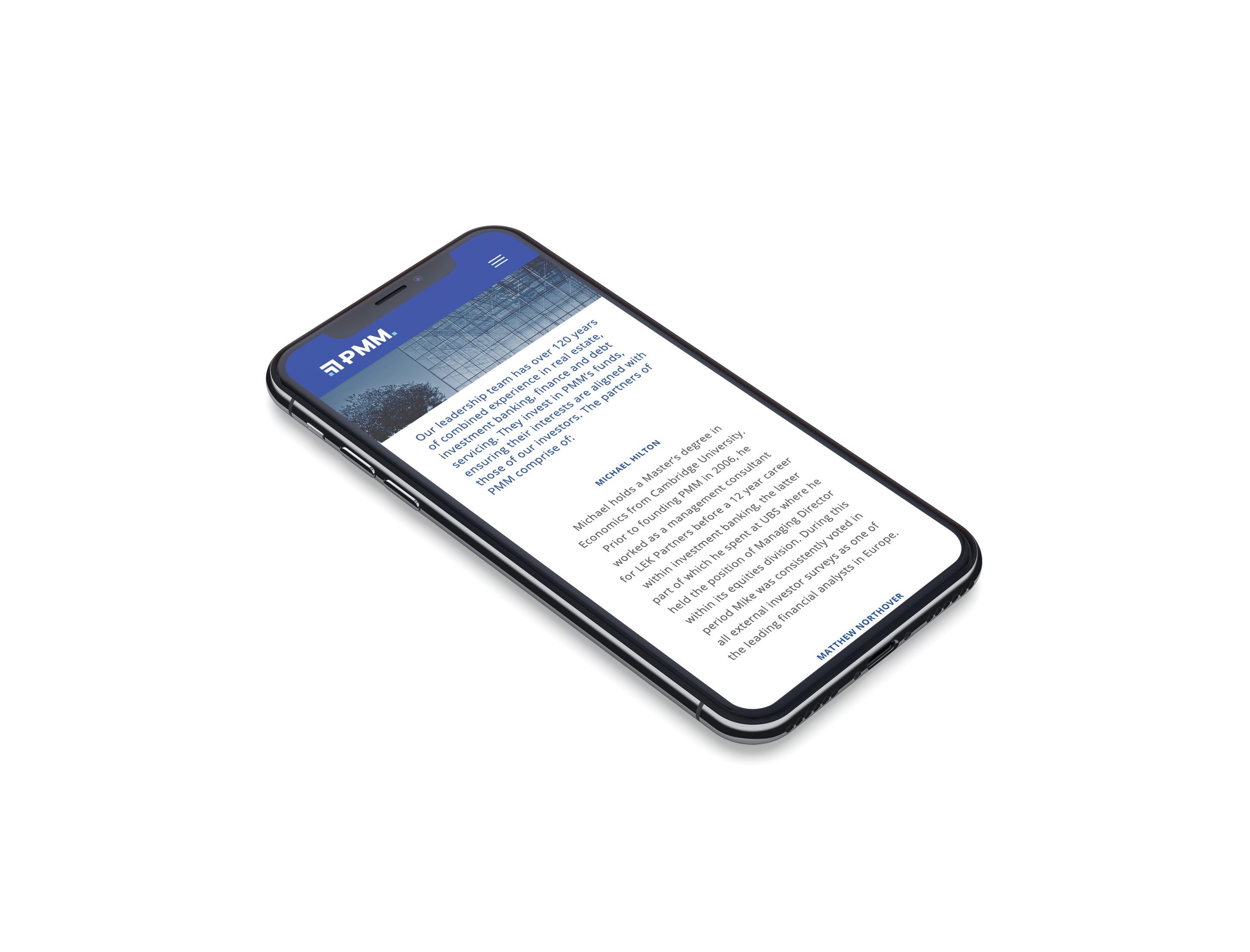 financial firm mobile web design iphone mockup
