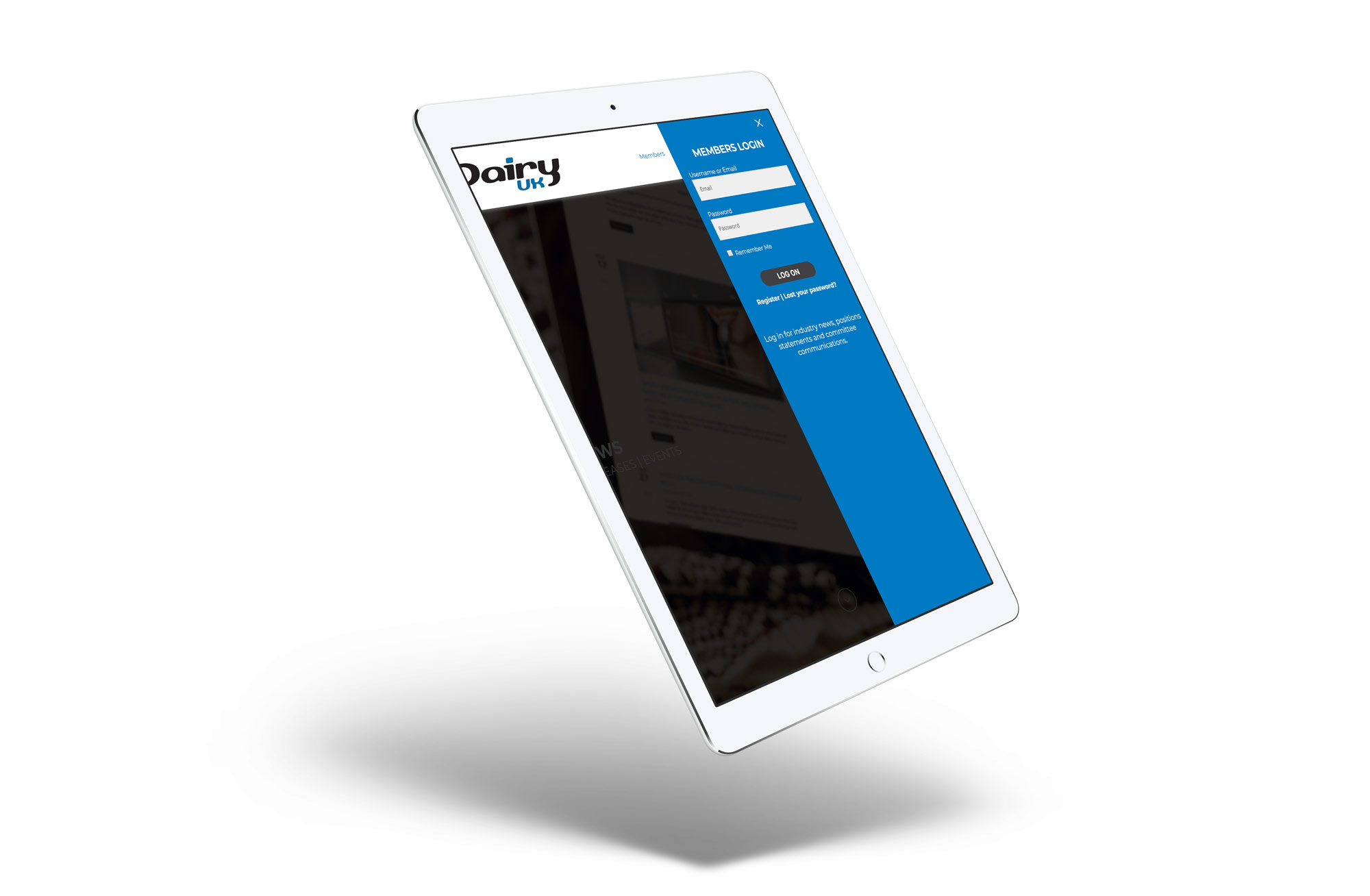 dairyuk website ipad mockup