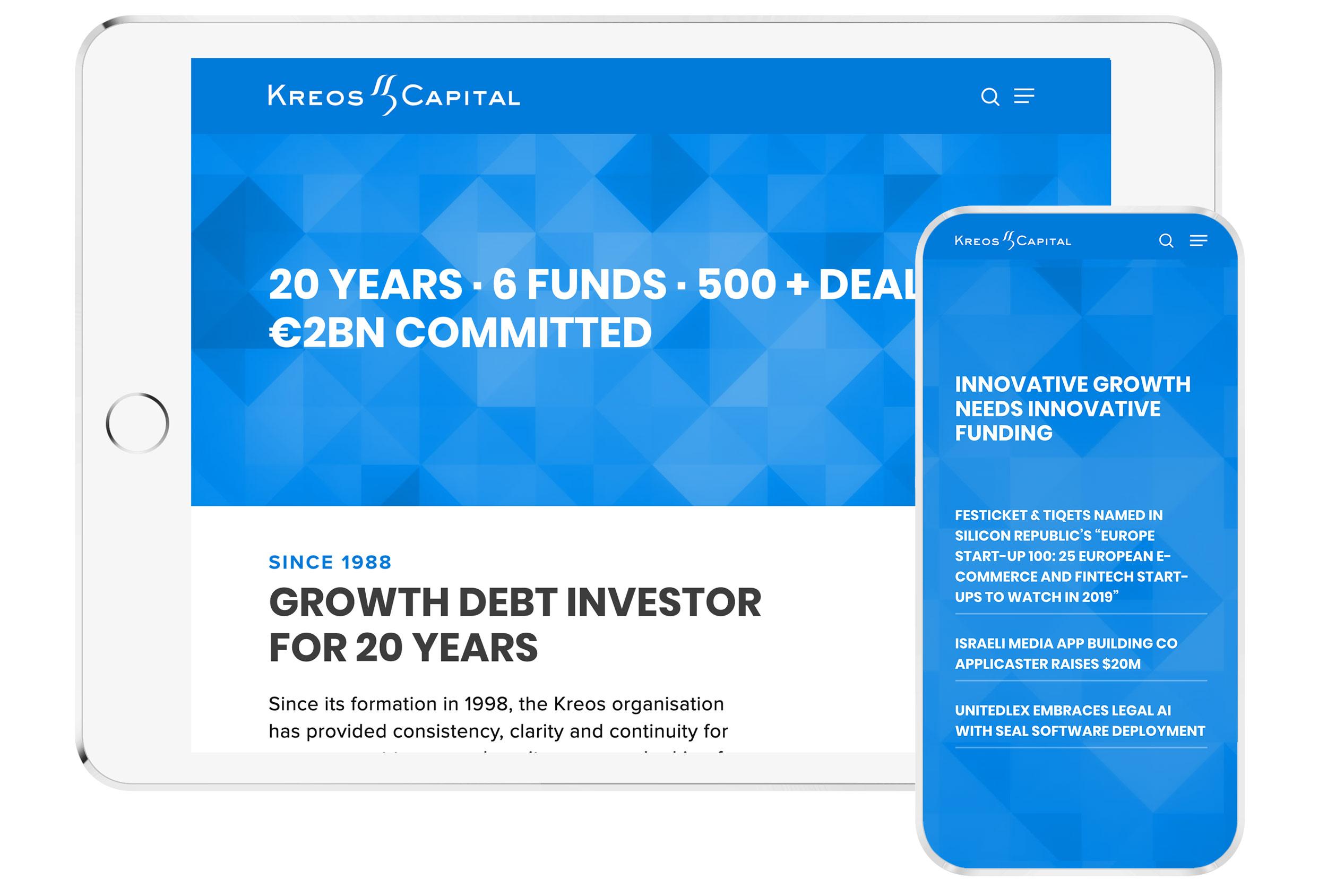 kreos iphone and ipad mockup financial company