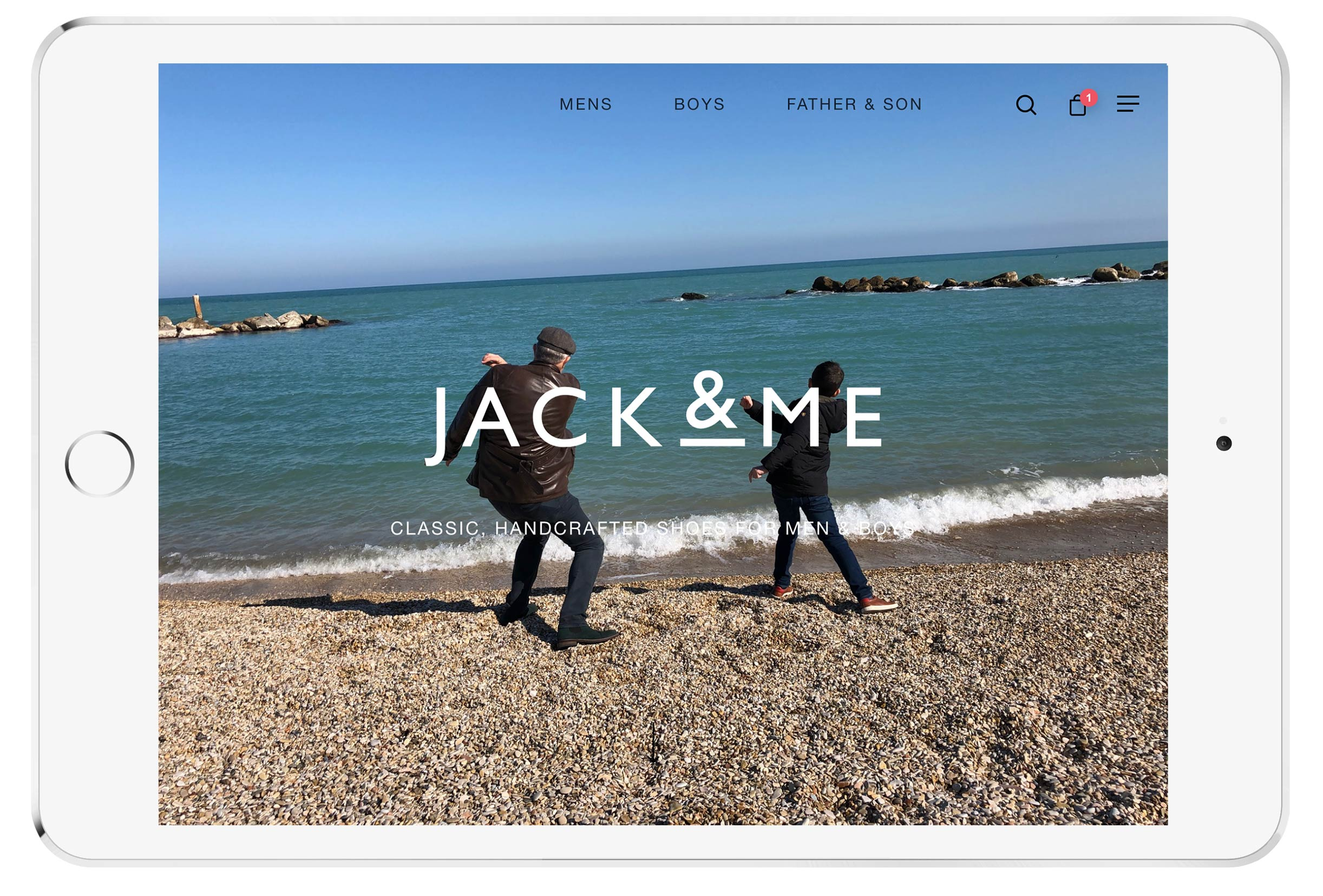 jack and me ecommerce website mockup