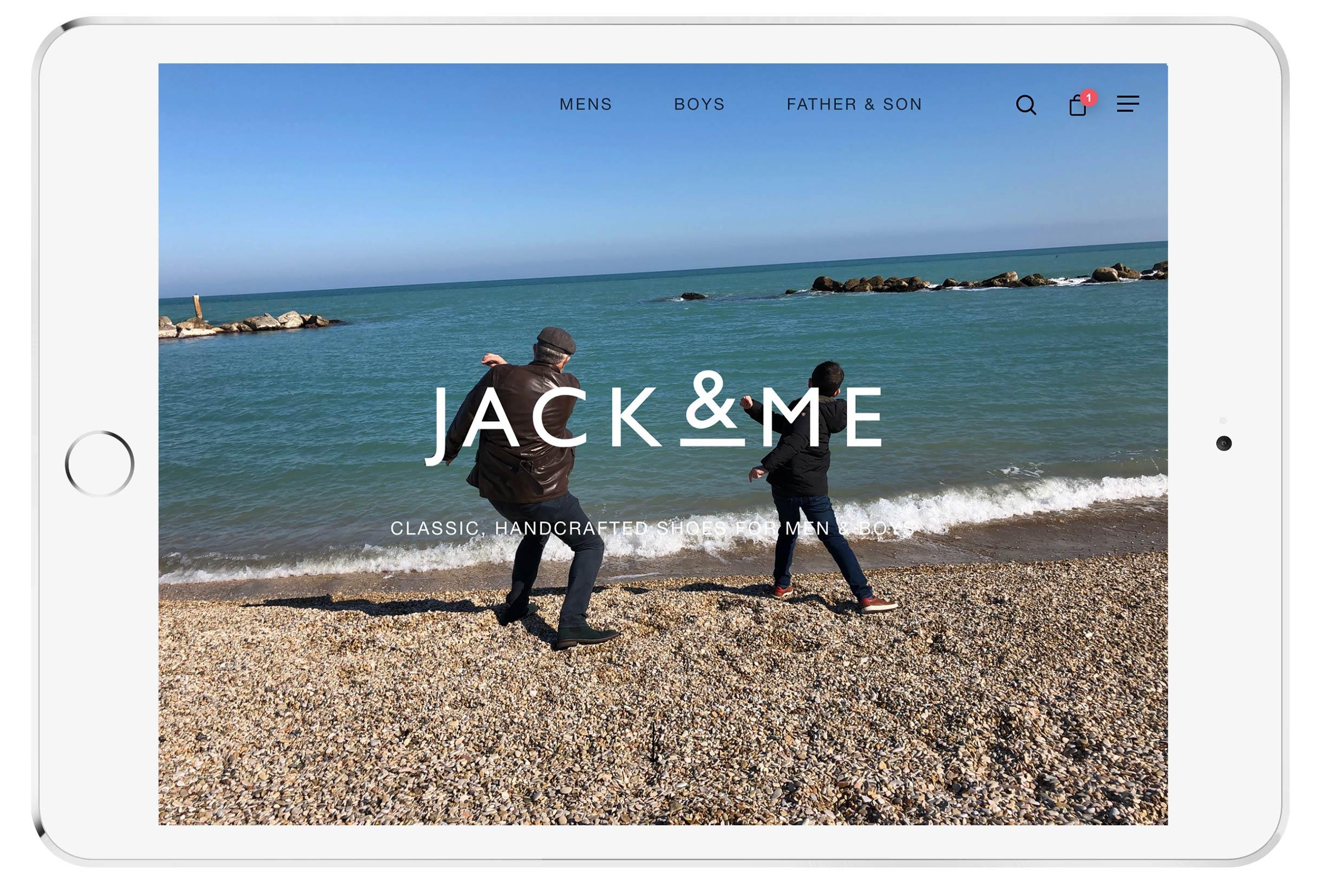 jack and me ecommerce website mockup