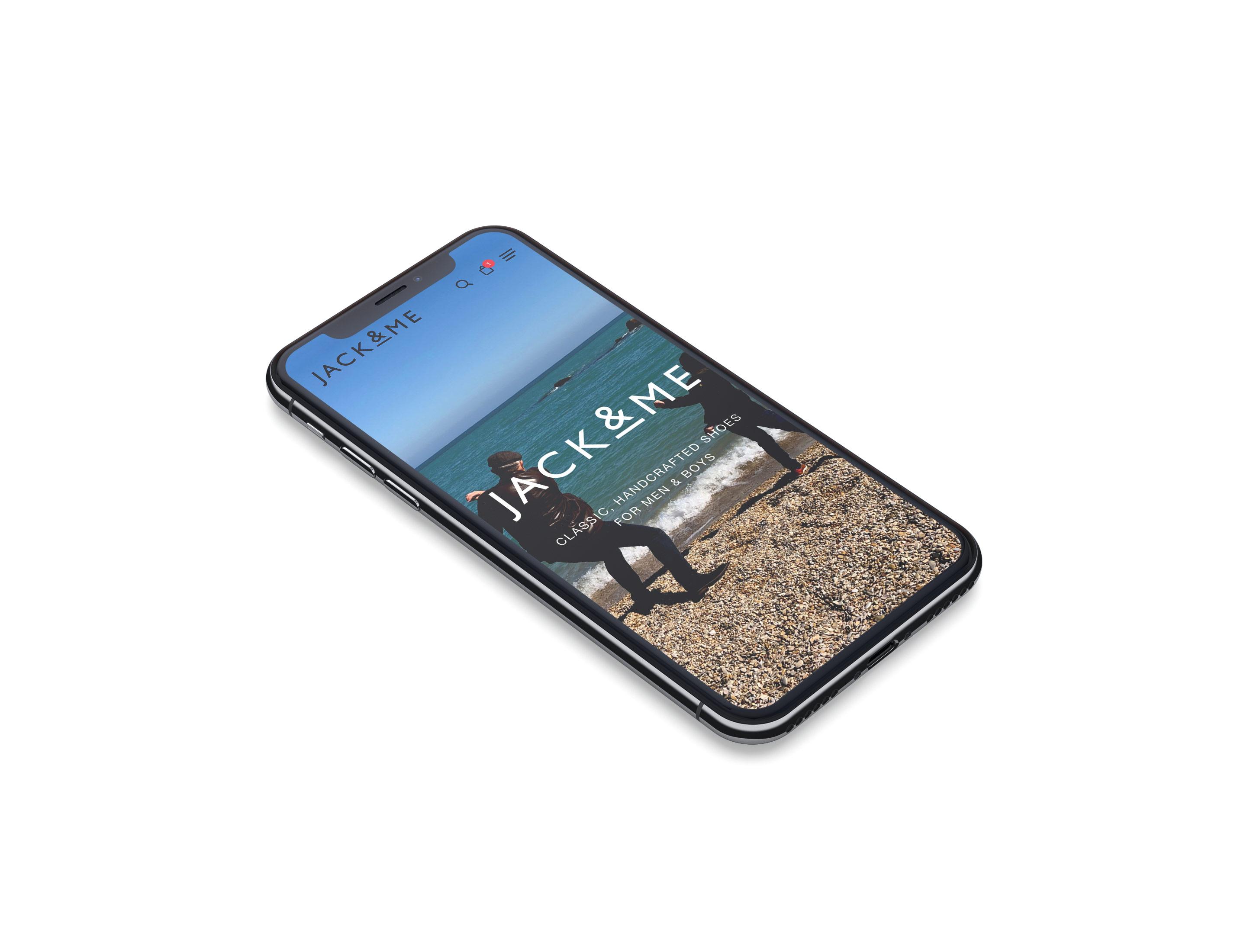 jack and me ecommerce website mockup iphone