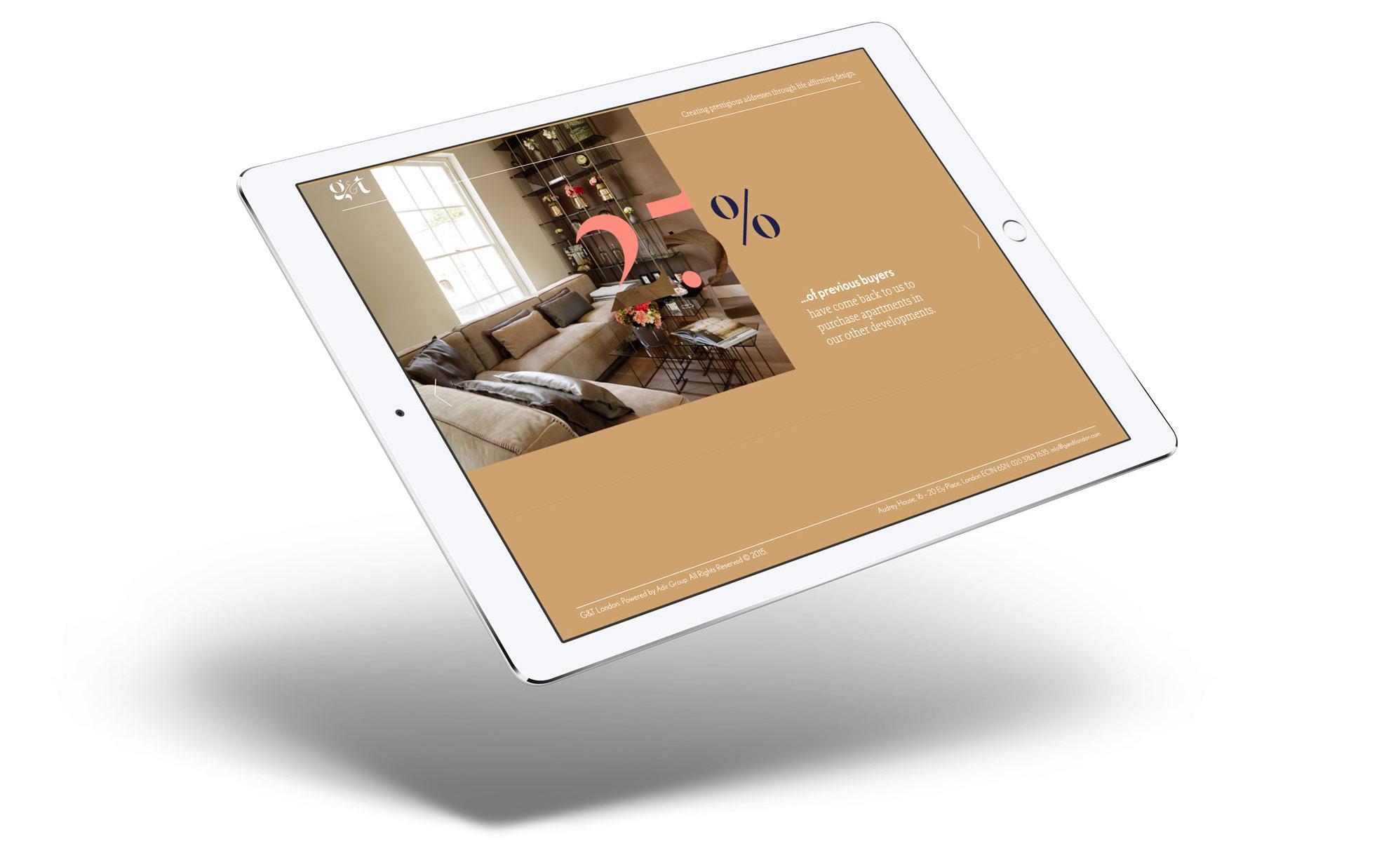 g and t property website interior designer london mockup