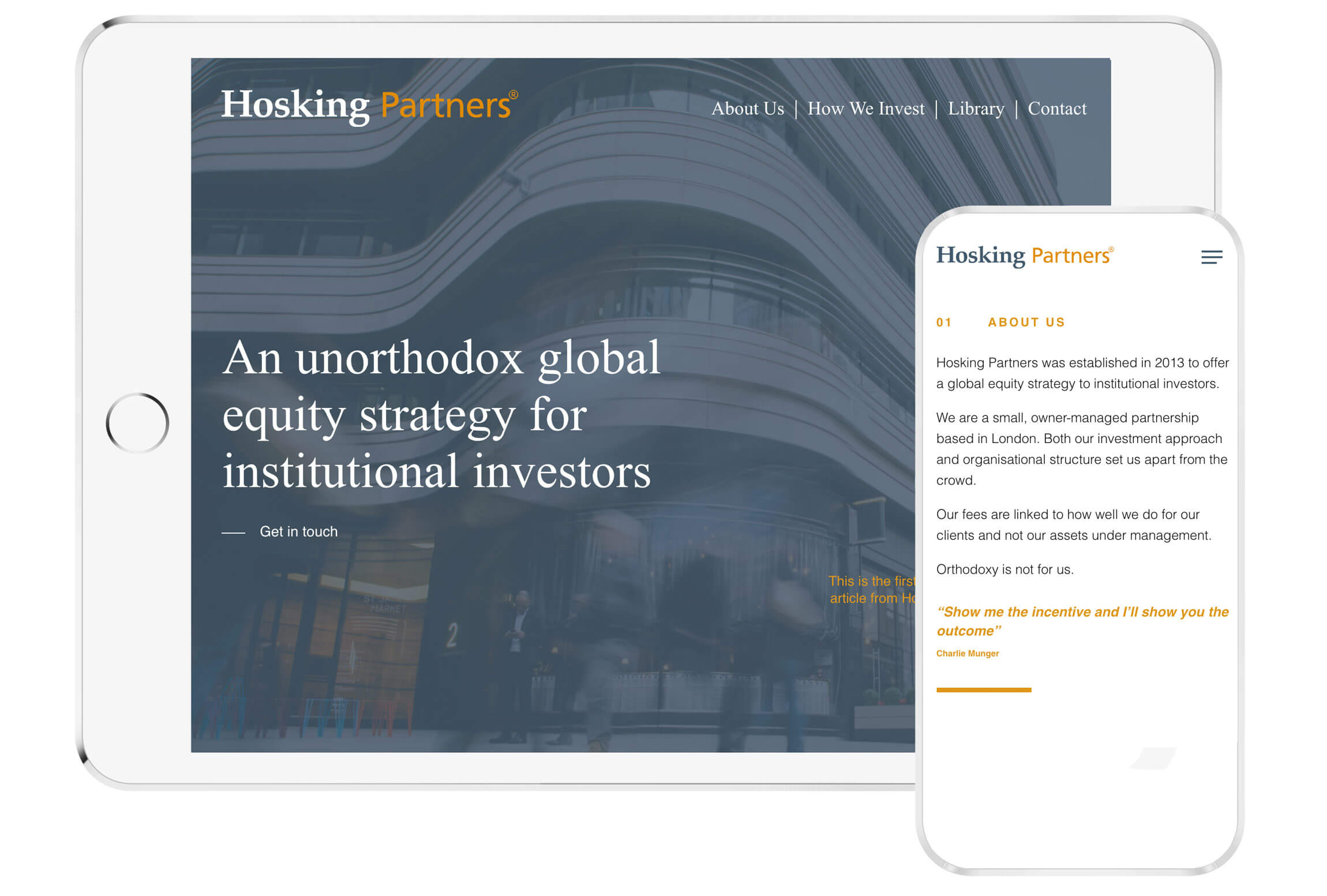 hosking partners web design mockup