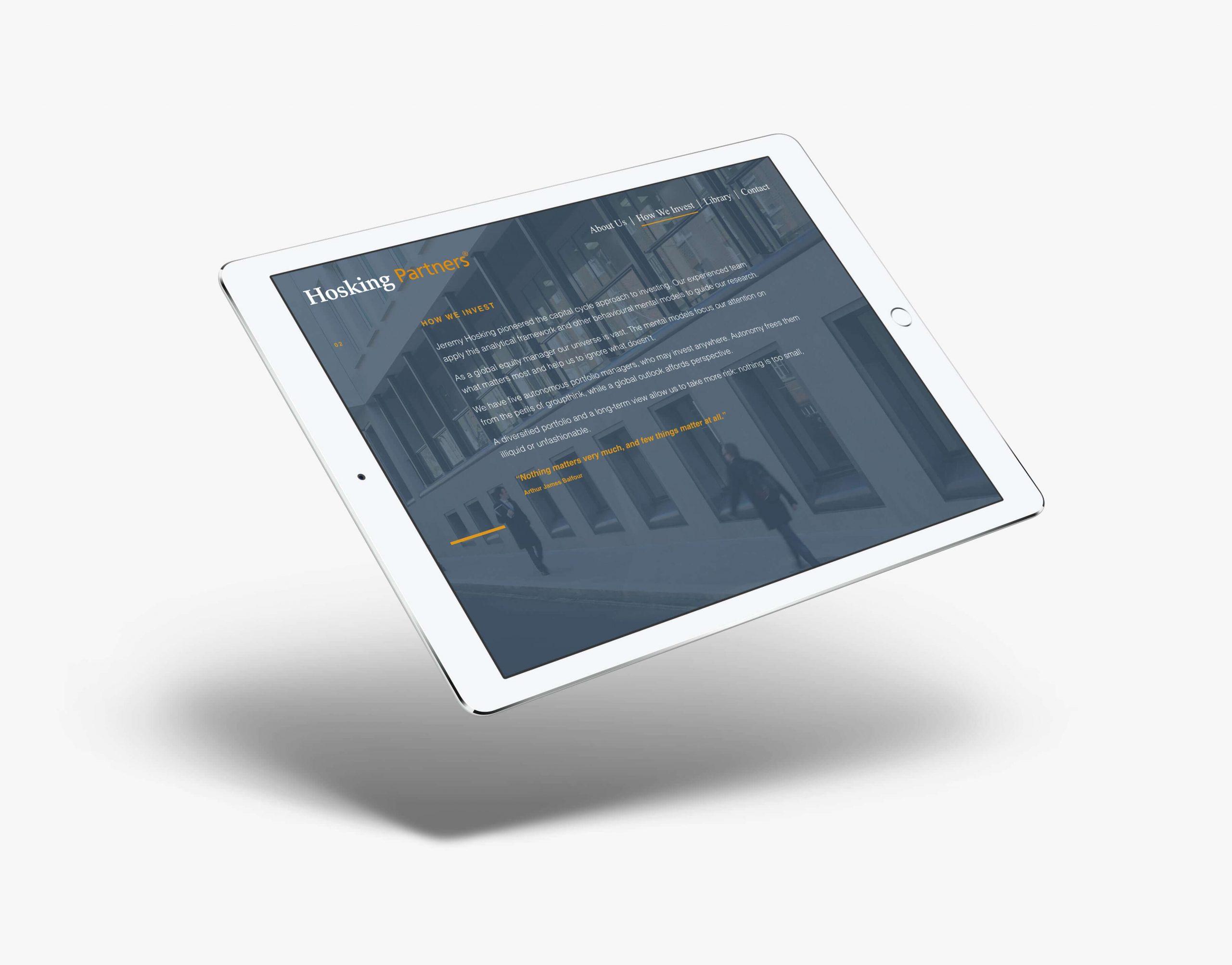 hosking partners tablet website design